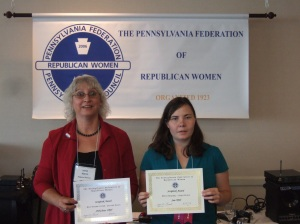 Irene Harris & Jolene Bierly with PFRW scrapbook awards