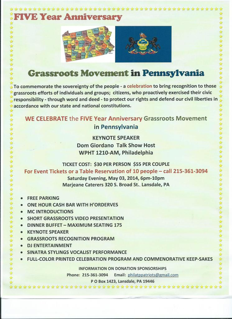 5 Year Anniversary - Grassroots Movement in PA