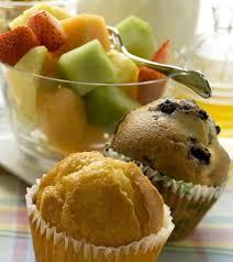 fruit and mufflin breakfast